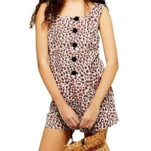 Topshop Etched Animal Linen Blend Playsuit Romper